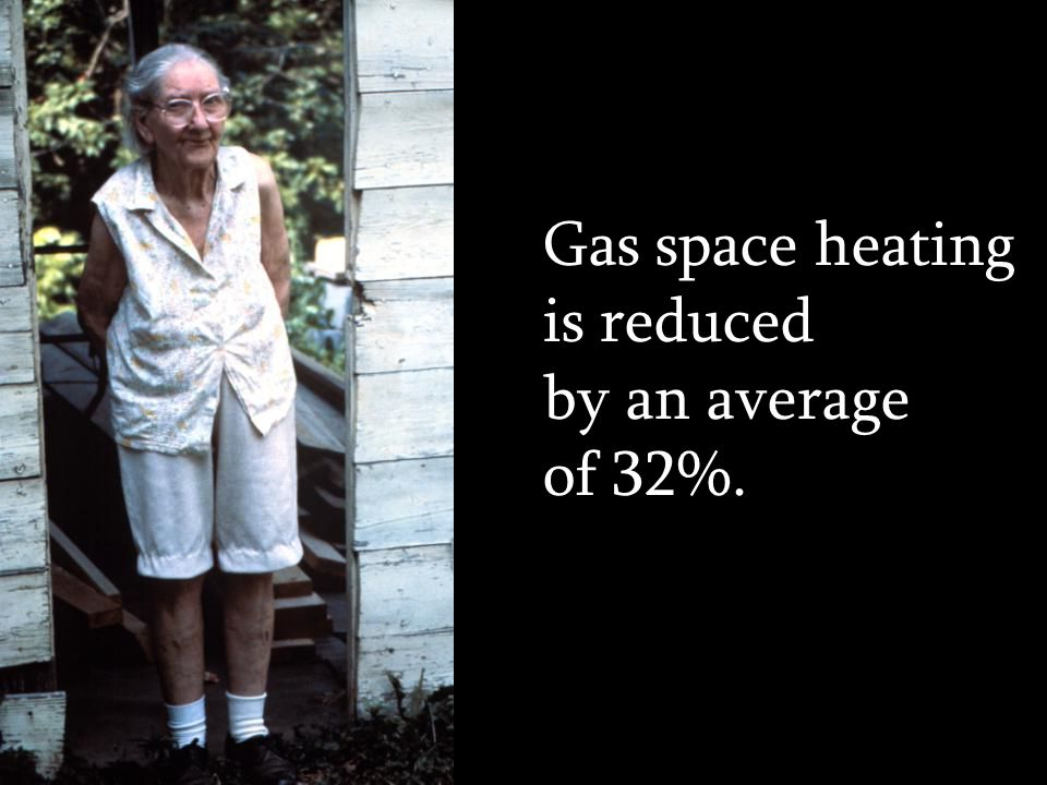 Gas space heating is reduced by an average of 32%.