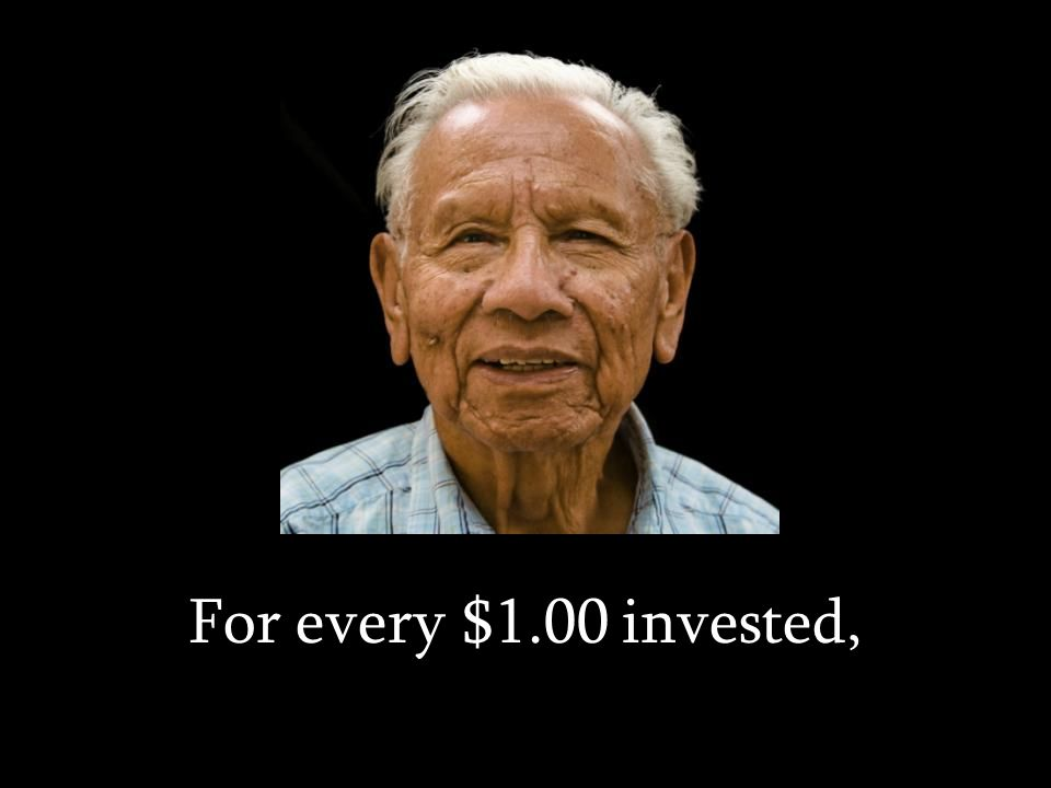 For every $1.00 invested,