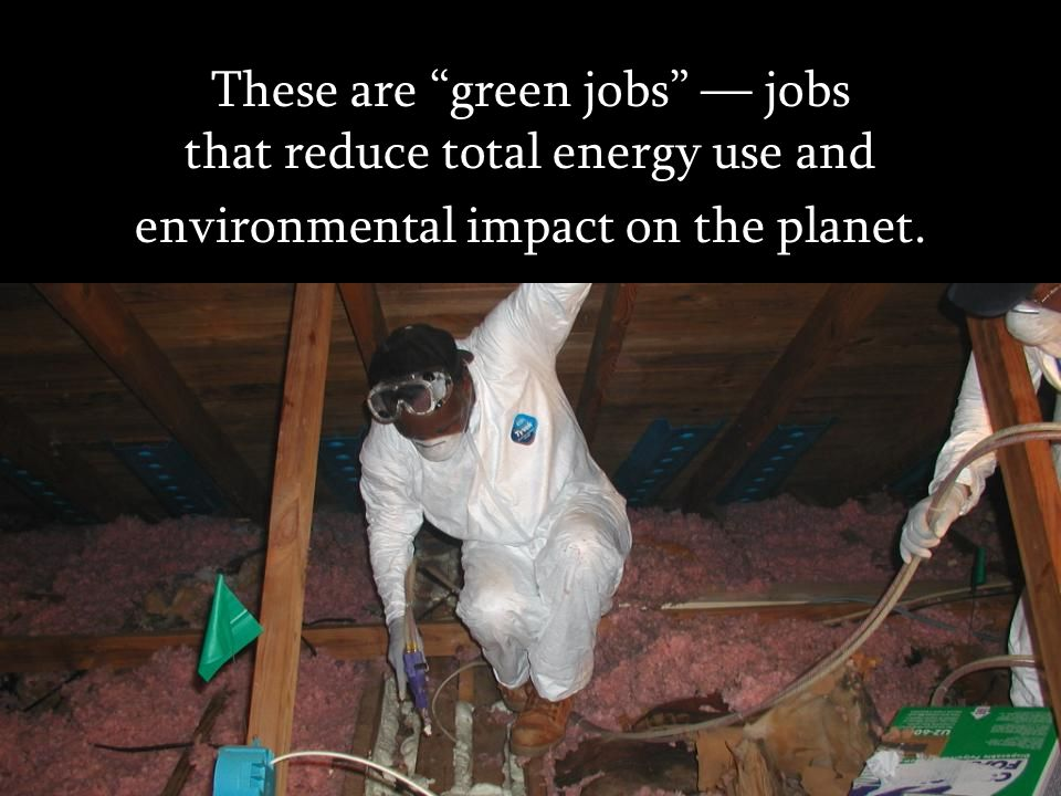 These are green jobs — jobs that reduce total energy use and environmental impact on the planet.