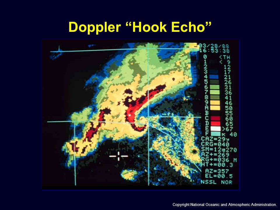 Doppler Hook Echo Copyright National Oceanic and Atmospheric Administration.