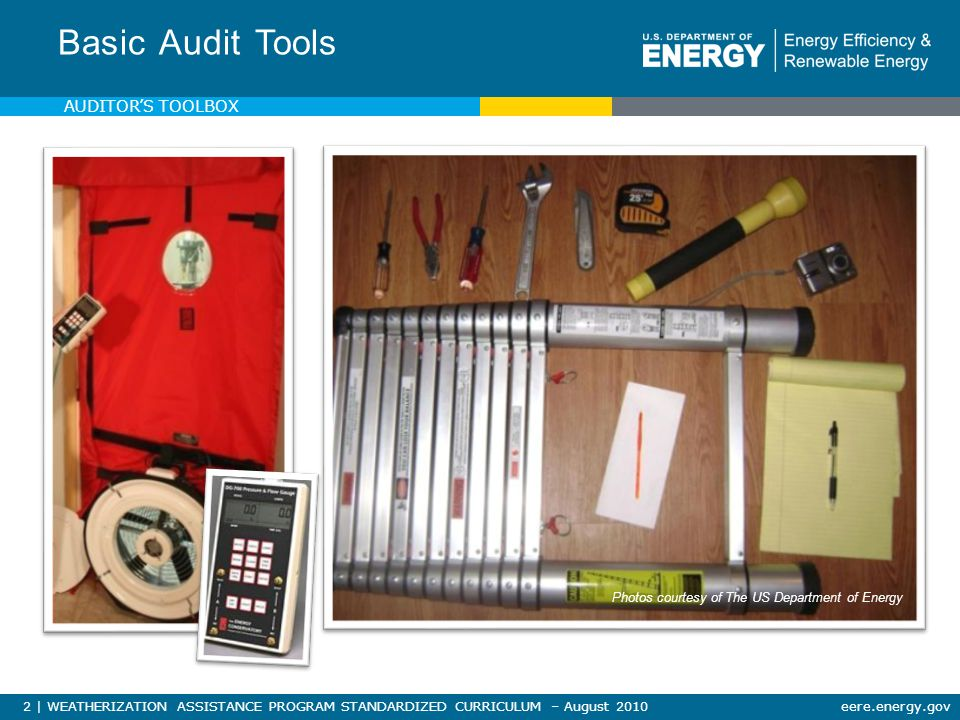 93   WEATHERIZATION ASSISTANCE PROGRAM STANDARDIZED CURRICULUM – August 2010eere.energy.gov MATERIALS, TOOLS & EQUIPMENT NRCERT Truck Side Hatch Photo courtesy of the US Department of Energy