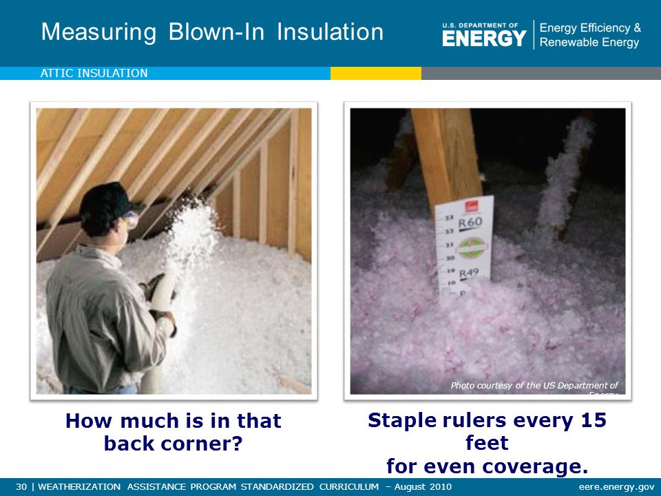 30 | WEATHERIZATION ASSISTANCE PROGRAM STANDARDIZED CURRICULUM – August 2010eere.energy.gov Measuring Blown-In Insulation How much is in that back corner.