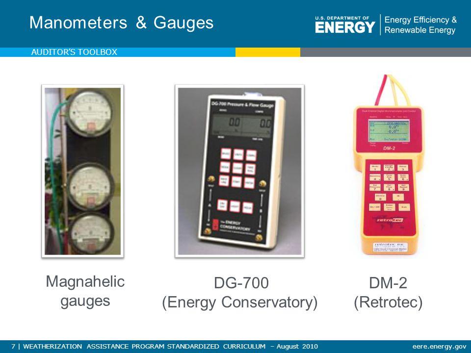 7 | WEATHERIZATION ASSISTANCE PROGRAM STANDARDIZED CURRICULUM – August 2010eere.energy.gov Manometers & Gauges Magnahelic gauges DG-700 (Energy Conservatory) DM-2 (Retrotec) AUDITOR'S TOOLBOX