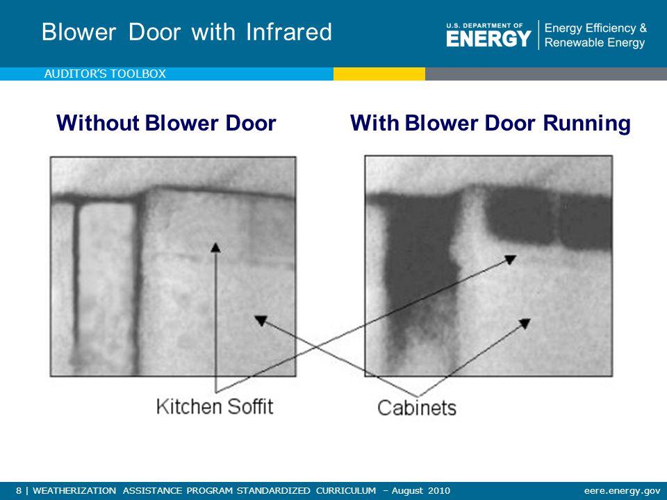 8 | WEATHERIZATION ASSISTANCE PROGRAM STANDARDIZED CURRICULUM – August 2010eere.energy.gov Blower Door with Infrared Without Blower DoorWith Blower Door Running AUDITOR'S TOOLBOX