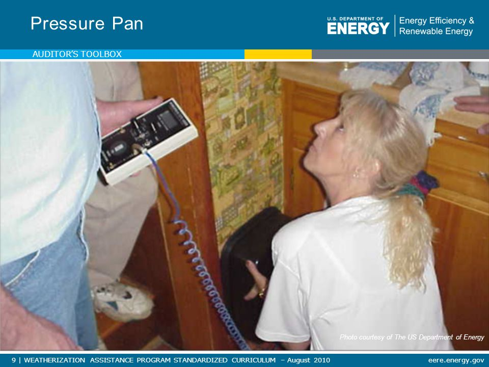 90   WEATHERIZATION ASSISTANCE PROGRAM STANDARDIZED CURRICULUM – August 2010eere.energy.gov MATERIALS, TOOLS & EQUIPMENT Combustion Safety Equipment Photos courtesy of the US Department of Energy