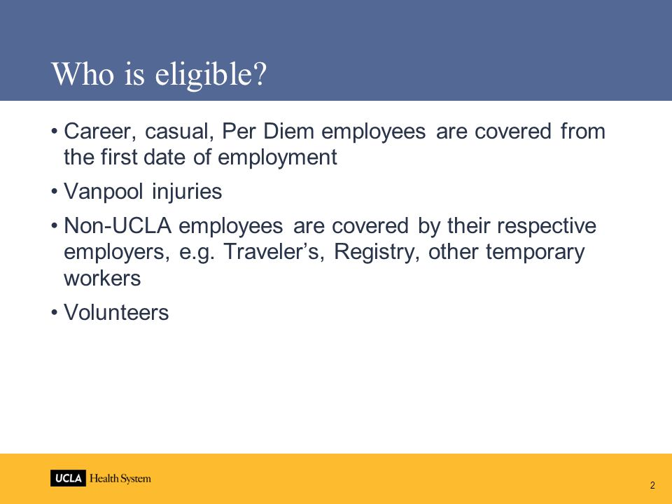 Contacts for Return to Work Program Contact Health System HR Workers' Compensation/ Return to Work coordinators to confirm employee meets eligibility criteria Health System Human Resources WC 310 794 0500 Mark Briskiembriskie@mednet.ucla.edu310 794 0525 Cynthia Vazquezcvazquez@mednet.ucla.edu310 794 0522 Ingrid Garciaigarcia@mednet.ucla.edu310 794 3036 Return to Work Coordinators Mark Briskie mbriskie@mednet.ucla.edu310 794 0525 Suzanne Bleibtreusbleibtreu@mednet.ucla.edu 13