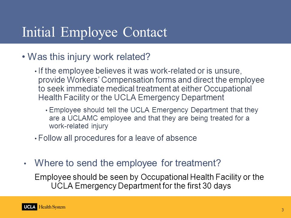 Cal-OSHA In case of Serious Injury or DEATH or if an employee is hospitalized: Page the Health System Safety Department pager 90248 immediately or call the Campus 24-hour call-in phone number EH&S Hotline: 310-825-9797 Call Health System Safety Department (310) 825-4012 for any follow-up OSHA requires notice within 8 hours of Serious Injury Serious Injury is: DeathAmputationConcussionCrushing injury Fracture Burn Laceration with stitches or significant bleeding Hospitalization beyond Observation 4