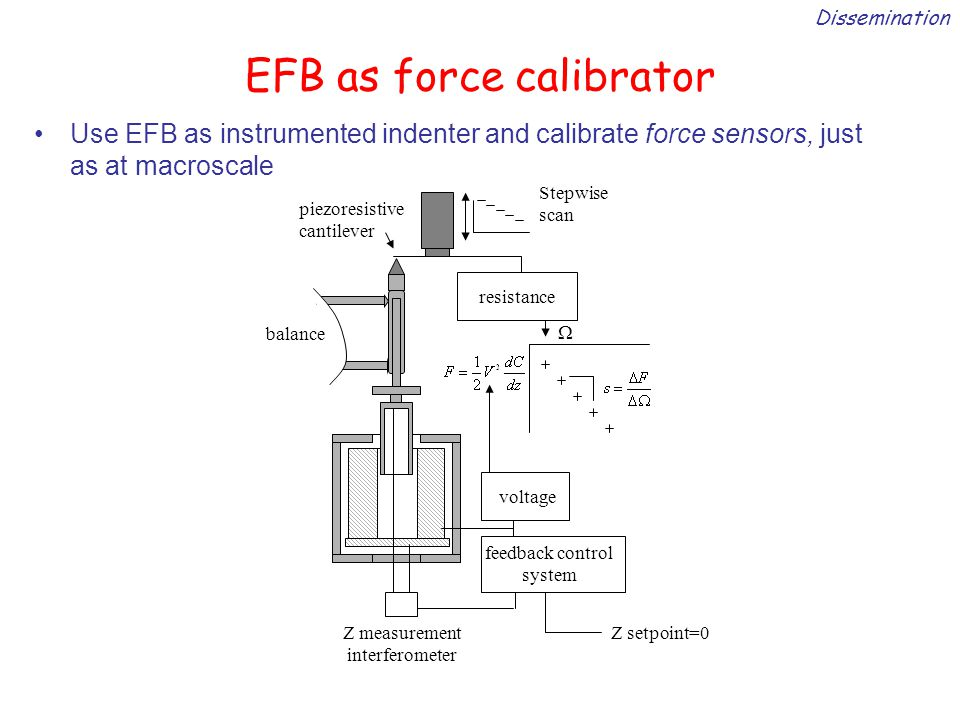 EFB as force calibrator Use EFB as instrumented indenter and calibrate force sensors, just as at macroscale Dissemination resistance feedback control system voltage Z measurement interferometer piezoresistive cantilever balance Z setpoint=0 Stepwise scan 
