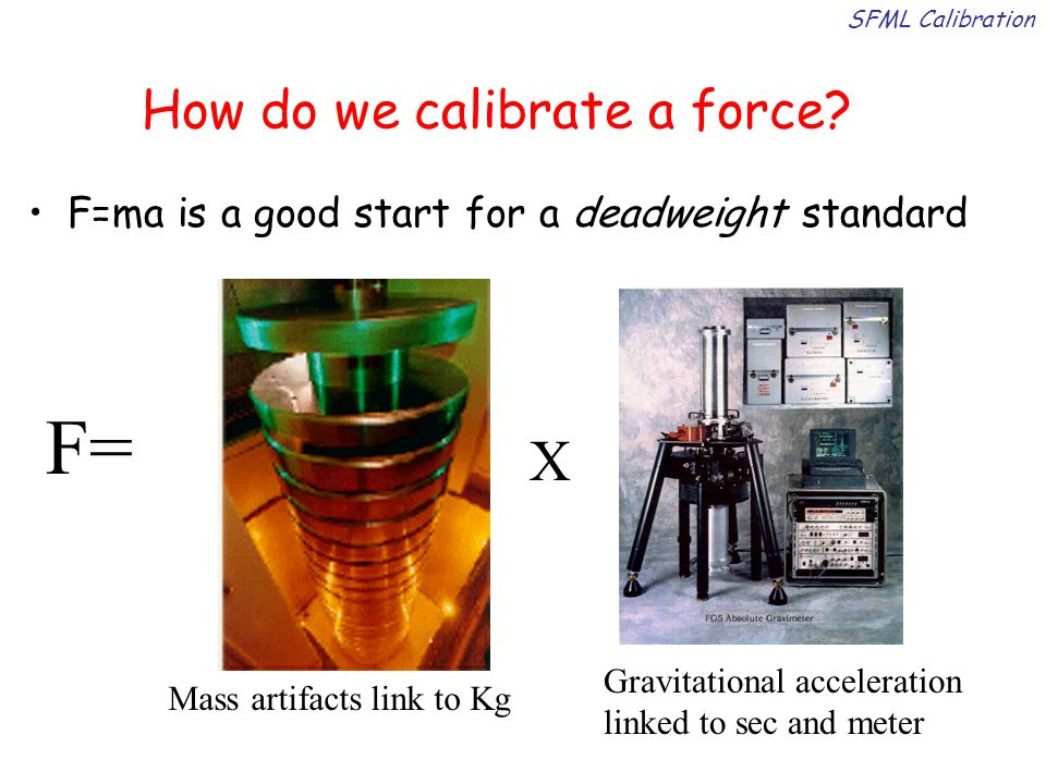Deadweights for small force F=mg ~ 10 -5 N Deadweight force realization is simple, accurate, and reliable down to 10 -5 N Accuracy: parts in 10 4 Many sensors (even some nano ) can be calibrated by suspending wires of known mass Limited by uncertainty in mass as we go smaller SFML calibration