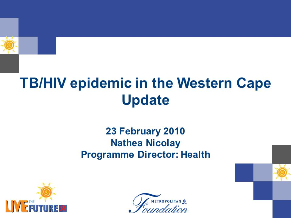 TB/HIV epidemic in the Western Cape Update 23 February 2010 Nathea Nicolay Programme Director: Health