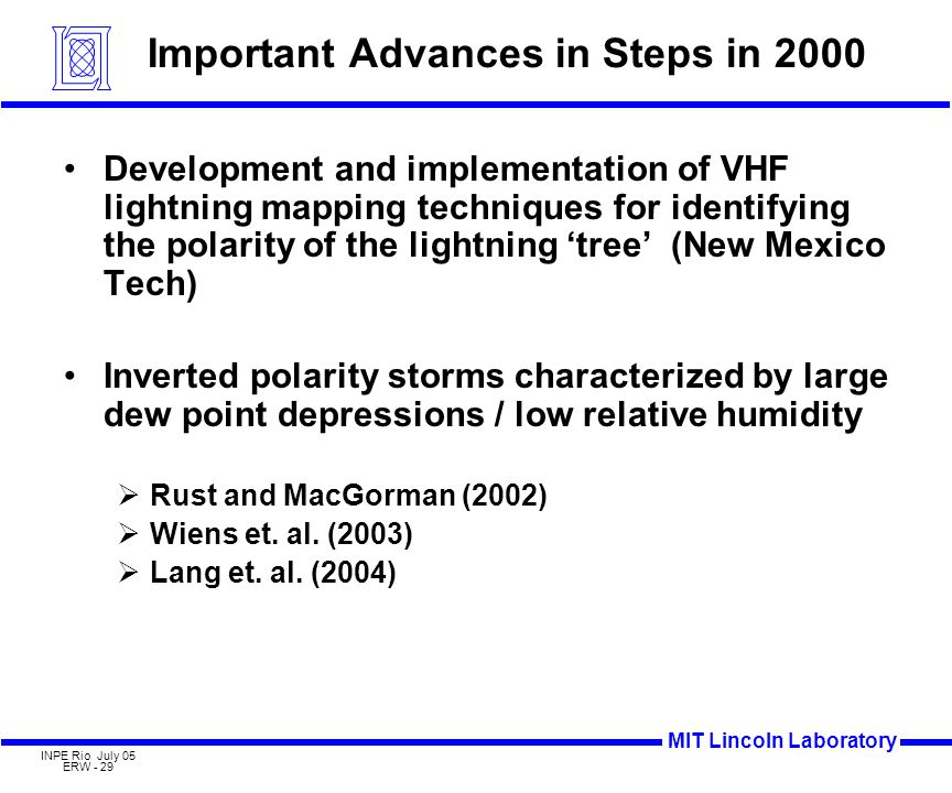 MIT Lincoln Laboratory INPE Rio July 05 ERW - 29 Important Advances in Steps in 2000 Development and implementation of VHF lightning mapping techniques for identifying the polarity of the lightning 'tree' (New Mexico Tech) Inverted polarity storms characterized by large dew point depressions / low relative humidity  Rust and MacGorman (2002)  Wiens et.