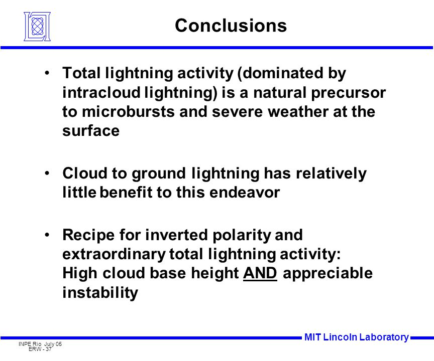 MIT Lincoln Laboratory INPE Rio July 05 ERW - 37 Conclusions Total lightning activity (dominated by intracloud lightning) is a natural precursor to microbursts and severe weather at the surface Cloud to ground lightning has relatively little benefit to this endeavor Recipe for inverted polarity and extraordinary total lightning activity: High cloud base height AND appreciable instability