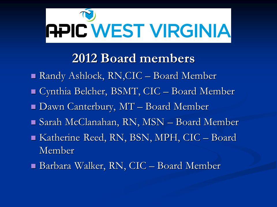 2012 Board members Randy Ashlock, RN,CIC – Board Member Randy Ashlock, RN,CIC – Board Member Cynthia Belcher, BSMT, CIC – Board Member Cynthia Belcher, BSMT, CIC – Board Member Dawn Canterbury, MT – Board Member Dawn Canterbury, MT – Board Member Sarah McClanahan, RN, MSN – Board Member Sarah McClanahan, RN, MSN – Board Member Katherine Reed, RN, BSN, MPH, CIC – Board Member Katherine Reed, RN, BSN, MPH, CIC – Board Member Barbara Walker, RN, CIC – Board Member Barbara Walker, RN, CIC – Board Member