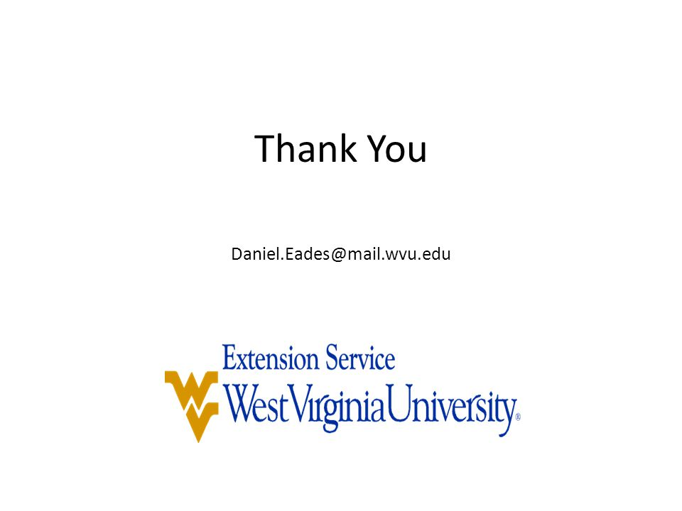 Thank You Daniel.Eades@mail.wvu.edu