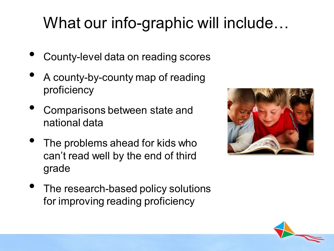 County-level data on reading scores A county-by-county map of reading proficiency Comparisons between state and national data The problems ahead for k