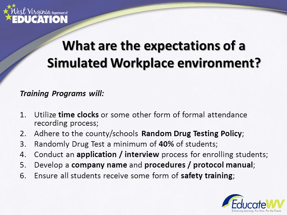 What are the expectations of a Simulated Workplace environment.