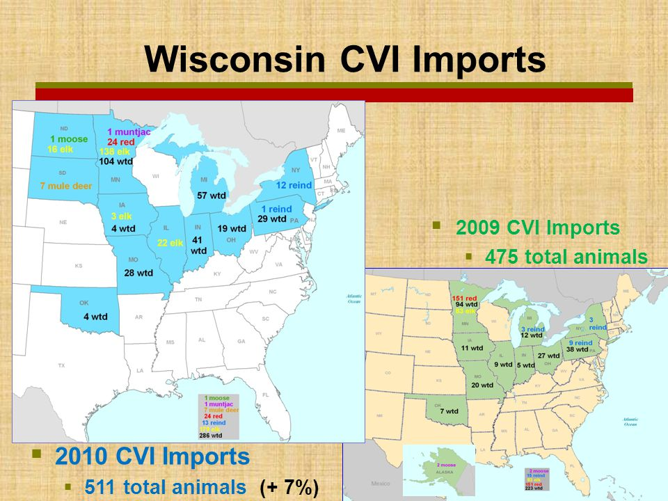  2009 CVI Imports  475 total animals  2010 CVI Imports  511 total animals (+ 7%) Wisconsin CVI Imports