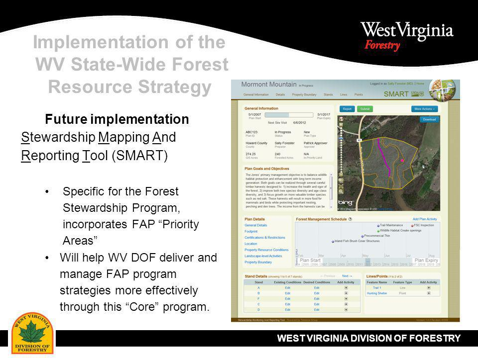WEST VIRGINIA DIVISION OF FORESTRY Implementation of the WV State-Wide Forest Resource Strategy Future implementation Stewardship Mapping And Reporting Tool (SMART) Specific for the Forest Stewardship Program, incorporates FAP Priority Areas Will help WV DOF deliver and manage FAP program strategies more effectively through this Core program.