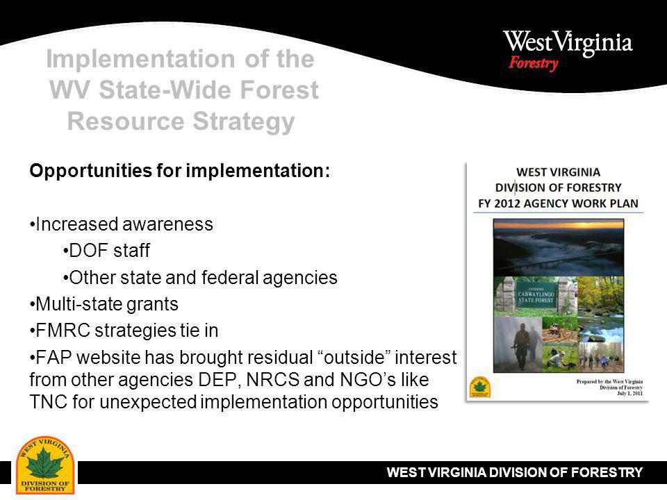 WEST VIRGINIA DIVISION OF FORESTRY Implementation of the WV State-Wide Forest Resource Strategy Opportunities for implementation: Increased awareness DOF staff Other state and federal agencies Multi-state grants FMRC strategies tie in FAP website has brought residual outside interest from other agencies DEP, NRCS and NGO's like TNC for unexpected implementation opportunities