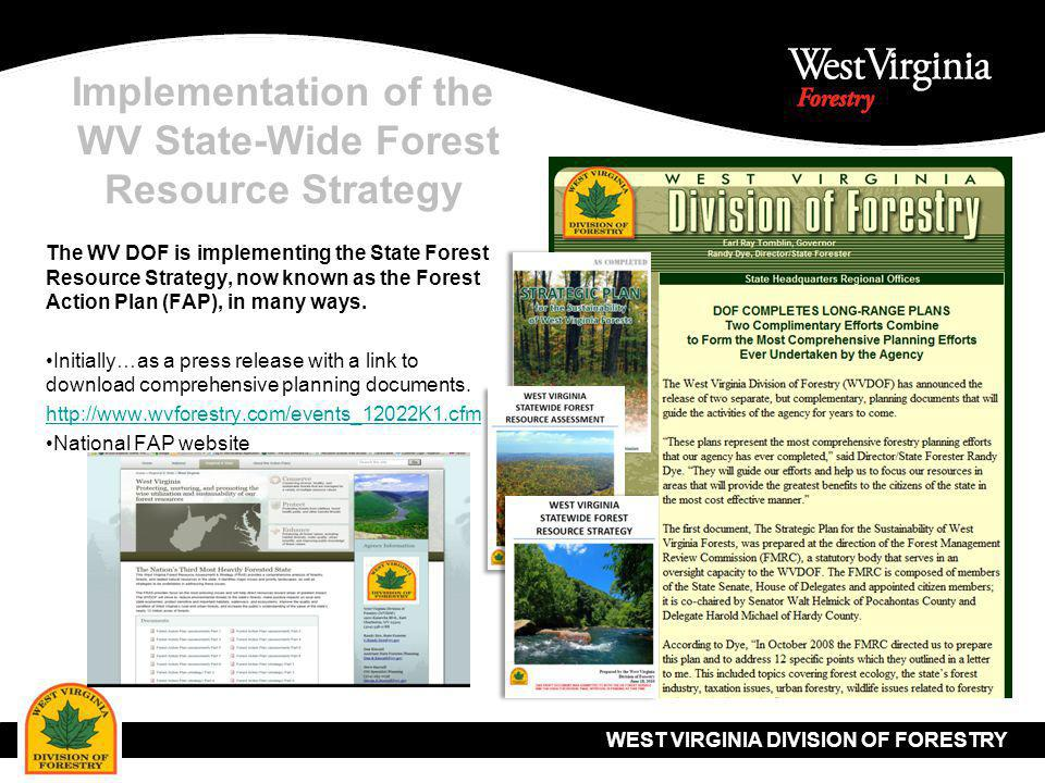 WEST VIRGINIA DIVISION OF FORESTRY Implementation of the WV State-Wide Forest Resource Strategy Through an agency wide Annual Work Plan Credit - Dan Kincaid, WV DOF Forest Planner (Retired)