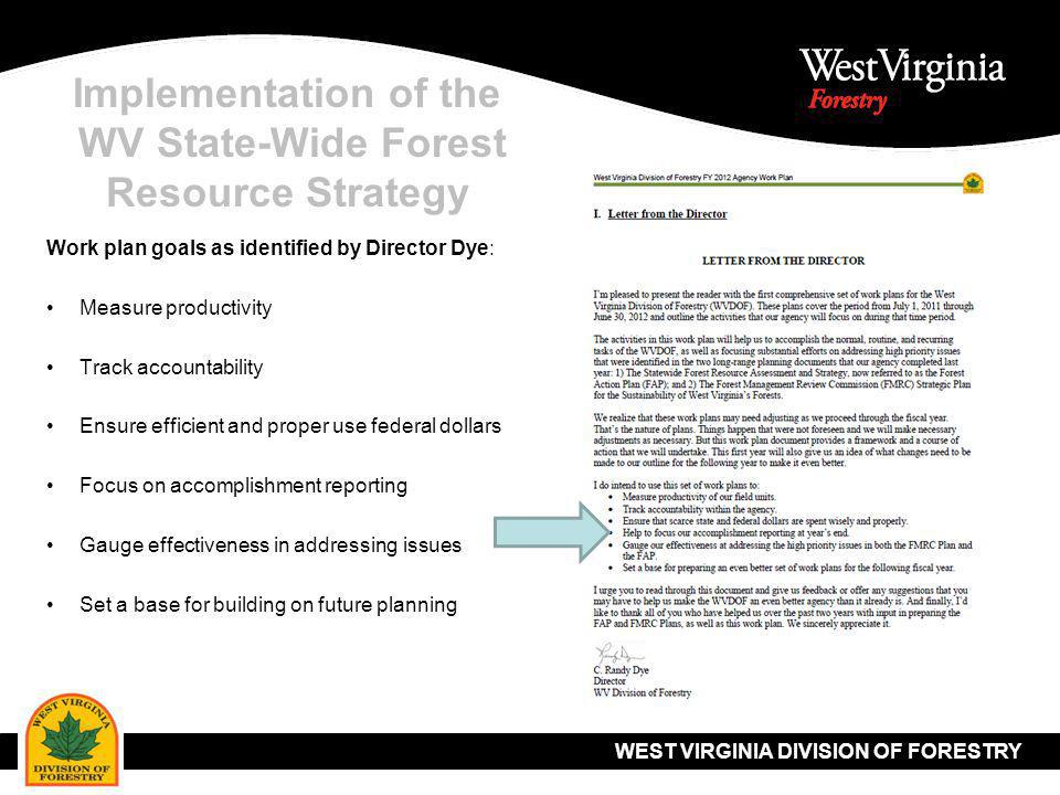 WEST VIRGINIA DIVISION OF FORESTRY Implementation of the WV State-Wide Forest Resource Strategy Work plan goals as identified by Director Dye: Measure productivity Track accountability Ensure efficient and proper use federal dollars Focus on accomplishment reporting Gauge effectiveness in addressing issues Set a base for building on future planning
