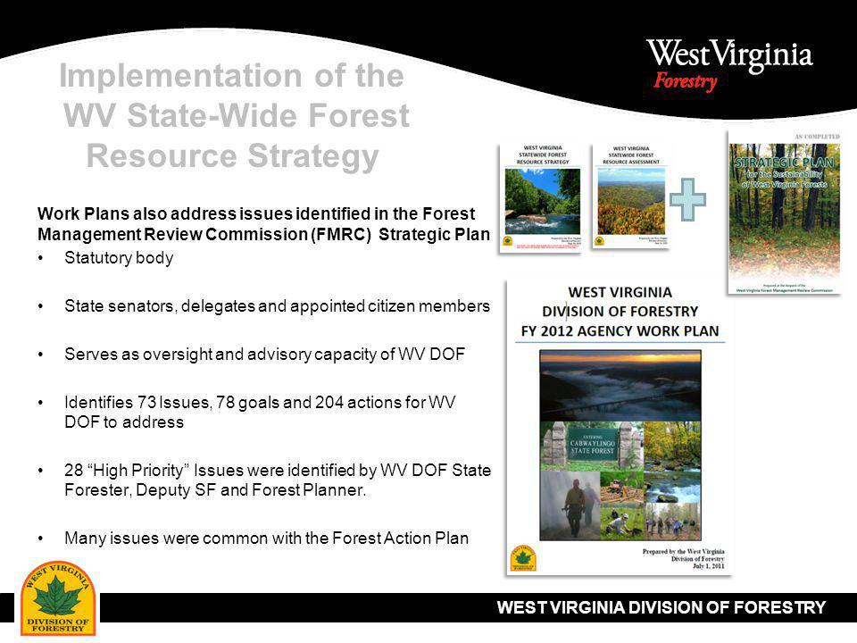 WEST VIRGINIA DIVISION OF FORESTRY Implementation of the WV State-Wide Forest Resource Strategy Thank you… Questions.