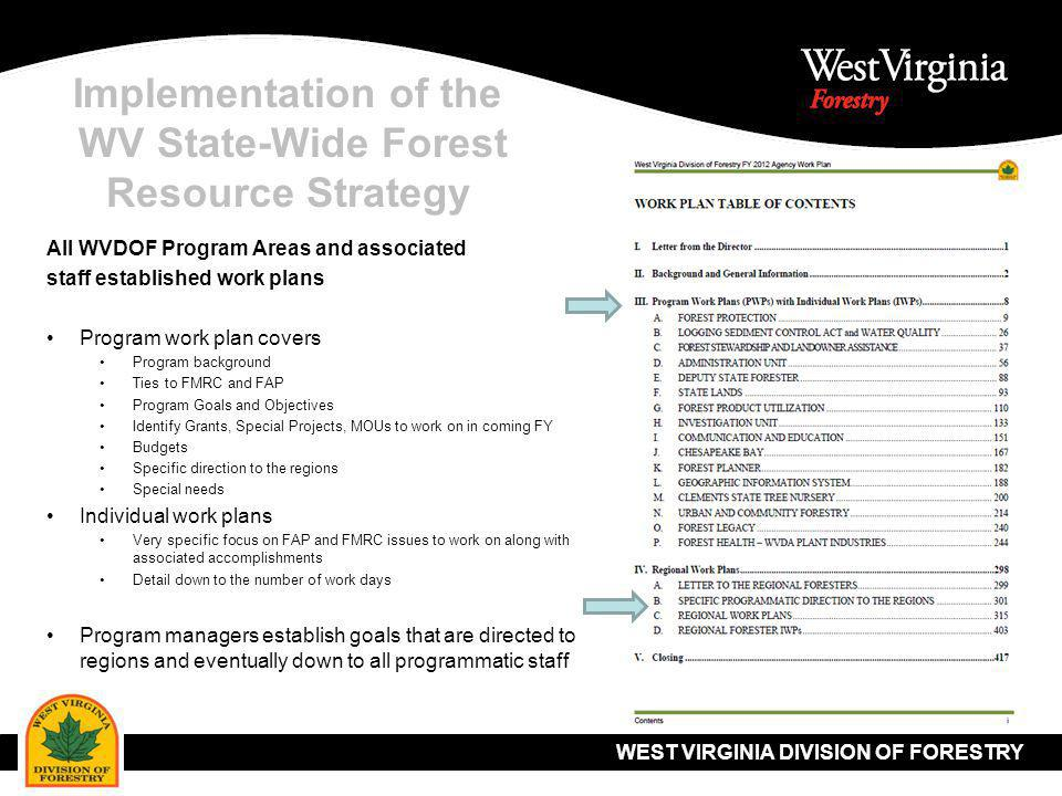WEST VIRGINIA DIVISION OF FORESTRY Implementation of the WV State-Wide Forest Resource Strategy All WVDOF Program Areas and associated staff established work plans Program work plan covers Program background Ties to FMRC and FAP Program Goals and Objectives Identify Grants, Special Projects, MOUs to work on in coming FY Budgets Specific direction to the regions Special needs Individual work plans Very specific focus on FAP and FMRC issues to work on along with associated accomplishments Detail down to the number of work days Program managers establish goals that are directed to regions and eventually down to all programmatic staff