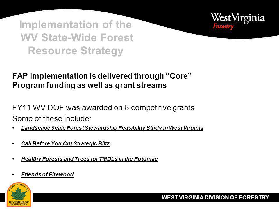WEST VIRGINIA DIVISION OF FORESTRY Implementation of the WV State-Wide Forest Resource Strategy Use of geospatial technology to help deliver FAP strategies Build on data and analysis established in 2010 Forest Resource Assessment Establish new priority areas Future FAP updates will be easier