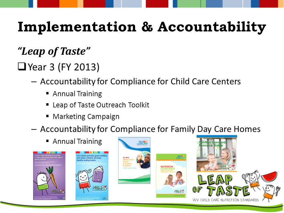 Implementation & Accountability Leap of Taste  Year 3 (FY 2013) – Accountability for Compliance for Child Care Centers  Annual Training  Leap of Taste Outreach Toolkit  Marketing Campaign – Accountability for Compliance for Family Day Care Homes  Annual Training