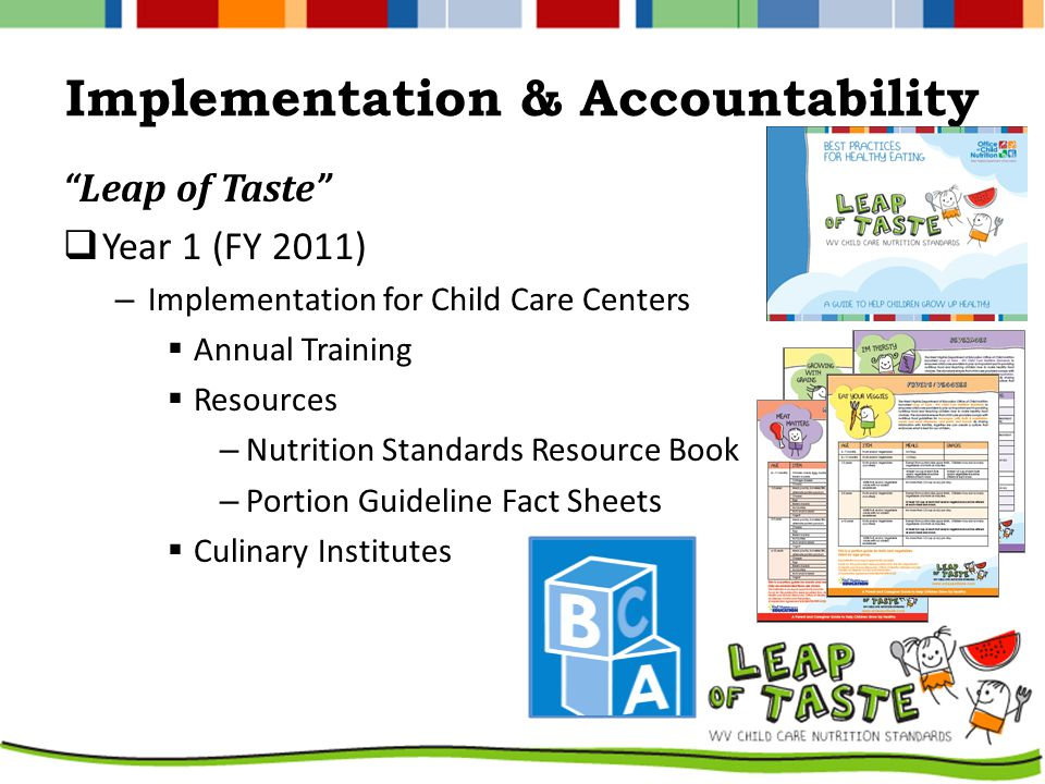 Implementation & Accountability Leap of Taste  Year 1 (FY 2011) – Implementation for Child Care Centers  Annual Training  Resources – Nutrition Standards Resource Book – Portion Guideline Fact Sheets  Culinary Institutes