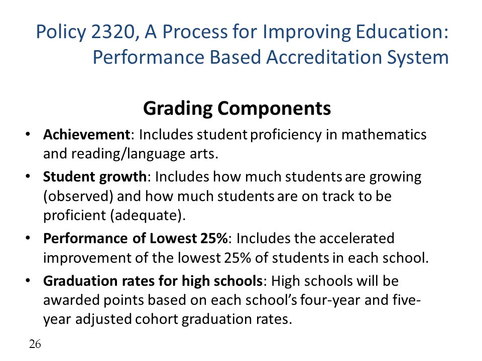 Policy 2320, A Process for Improving Education: Performance Based Accreditation System Grading Components Achievement: Includes student proficiency in mathematics and reading/language arts.