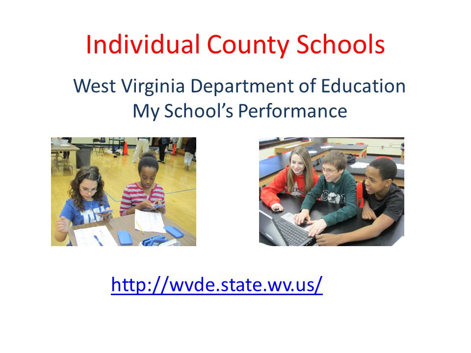 Individual County Schools http://wvde.state.wv.us/ West Virginia Department of Education My School's Performance