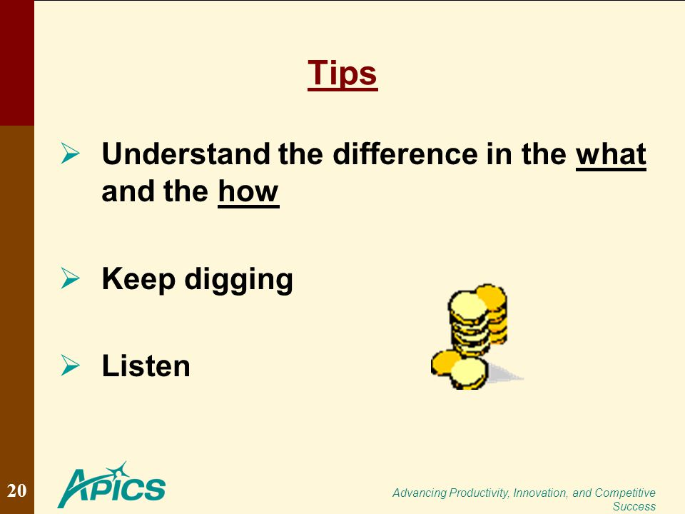 Advancing Productivity, Innovation, and Competitive Success Tips  Understand the difference in the what and the how  Keep digging  Listen 20