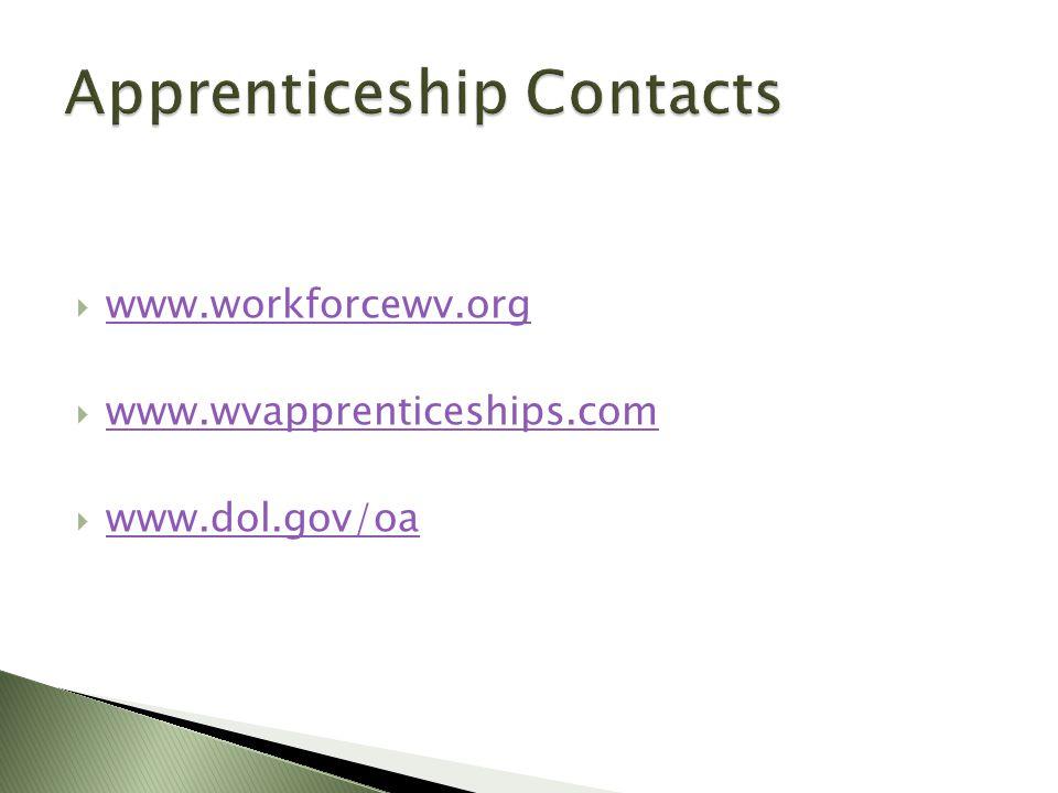  www.workforcewv.org www.workforcewv.org  www.wvapprenticeships.com www.wvapprenticeships.com  www.dol.gov/oa www.dol.gov/oa