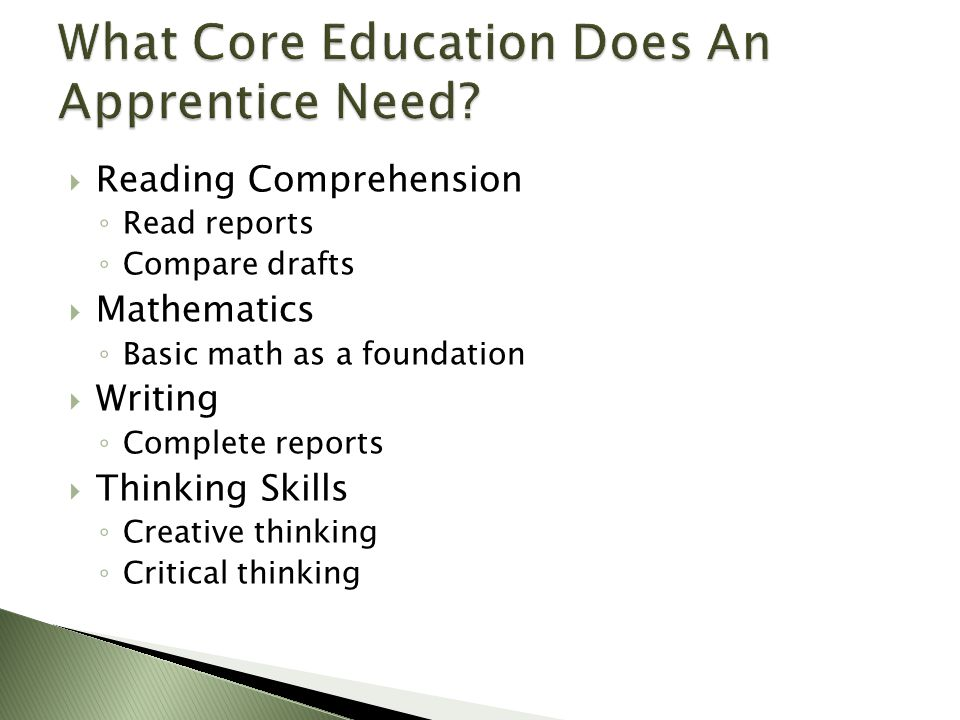  Reading Comprehension ◦ Read reports ◦ Compare drafts  Mathematics ◦ Basic math as a foundation  Writing ◦ Complete reports  Thinking Skills ◦ Creative thinking ◦ Critical thinking