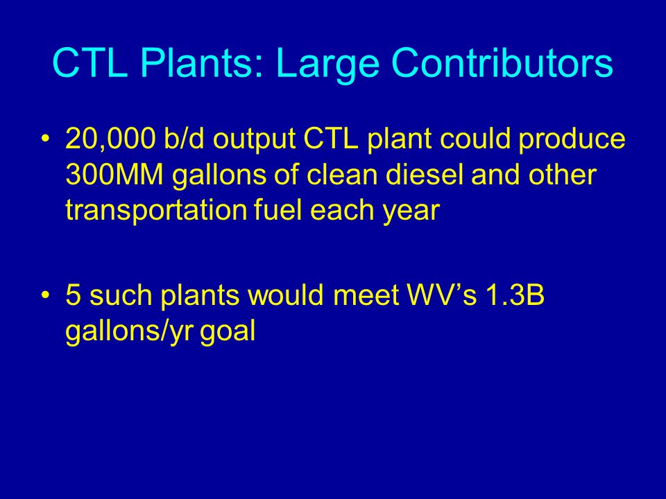 CTL Plants: Large Contributors 20,000 b/d output CTL plant could produce 300MM gallons of clean diesel and other transportation fuel each year 5 such