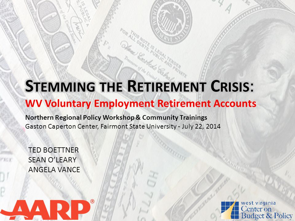 OVERVIEW The Retirement Problem – Retirement Income Deficit - $6.6 trillion – 38.3 million working-age households (45%) have no retirement account assets – 4 out of 5 working households have saved less than 1 year of income for retirement – The median retirement savings balance for households nearing retirement is only $12,000 – Leading causes of poverty among elderly – Lack of retirement assets a potential drain on future budgets