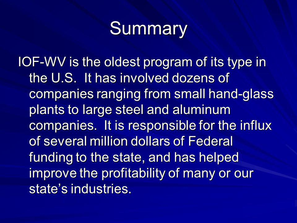 Summary IOF-WV is the oldest program of its type in the U.S.