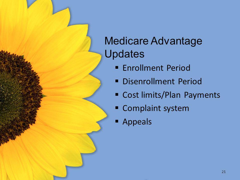 21 Medicare Advantage Updates  Enrollment Period  Disenrollment Period  Cost limits/Plan Payments  Complaint system  Appeals