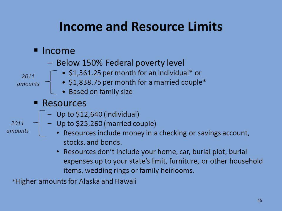 Income and Resource Limits 46  Income –Below 150% Federal poverty level $1,361.25 per month for an individual* or $1,838.75 per month for a married c