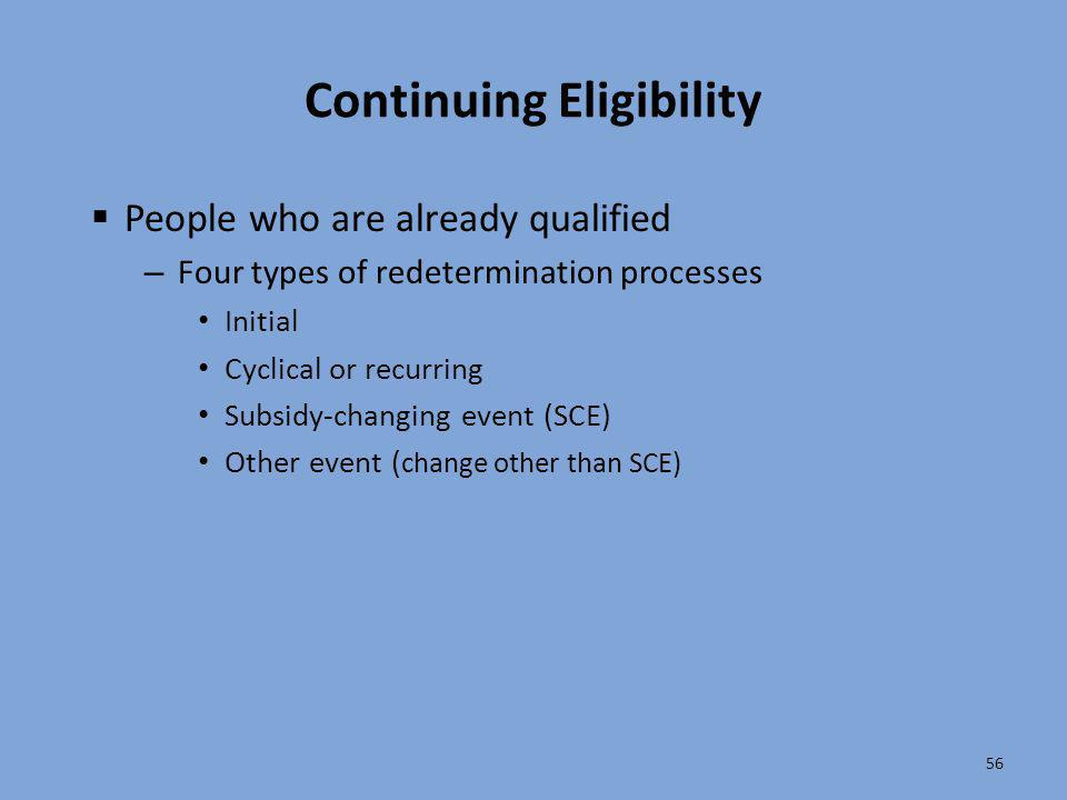 56 Continuing Eligibility  People who are already qualified – Four types of redetermination processes Initial Cyclical or recurring Subsidy-changing