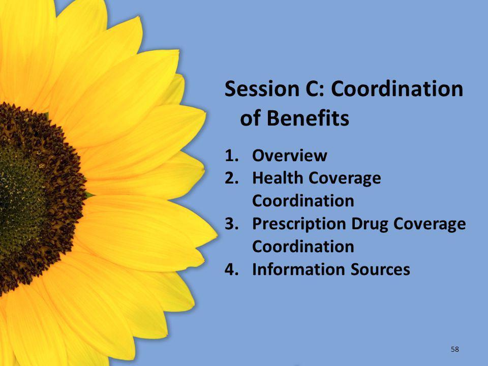 Session C: Coordination of Benefits 1.Overview 2.Health Coverage Coordination 3.Prescription Drug Coverage Coordination 4.Information Sources 58