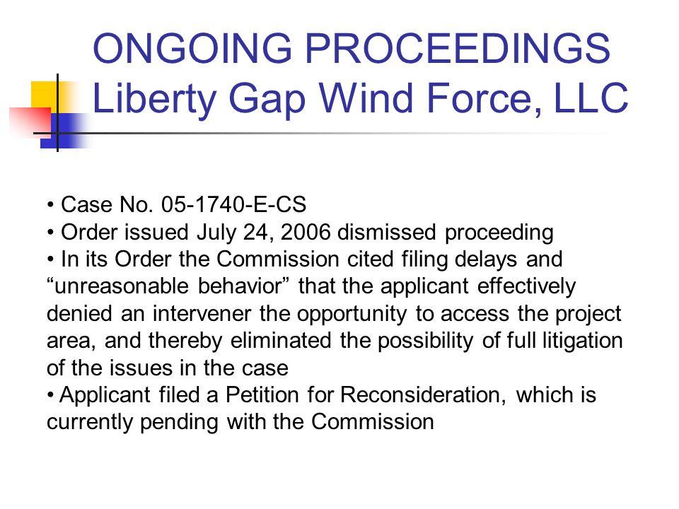 ONGOING PROCEEDINGS EPAct 2005 Proceeding Case No.