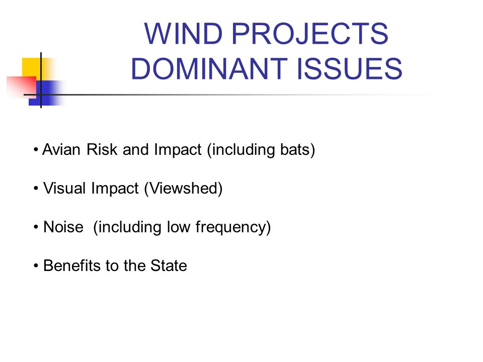 WIND PROJECTS DOMINANT ISSUES Avian Risk and Impact (including bats) Visual Impact (Viewshed) Noise (including low frequency) Benefits to the State