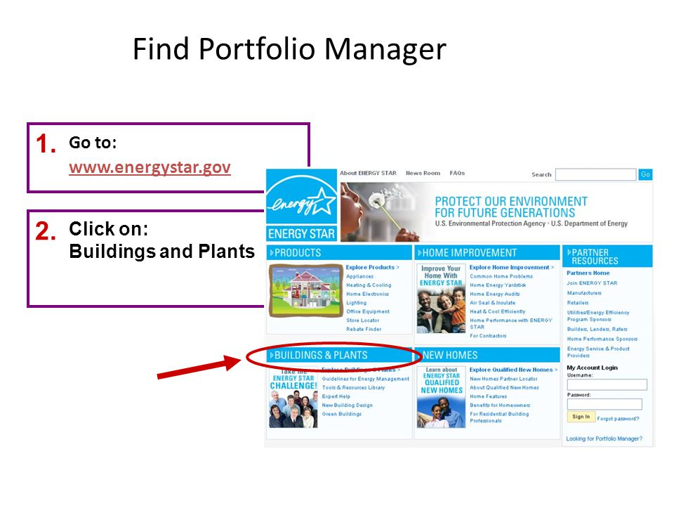 Find Portfolio Manager Go to: www.energystar.gov 1. 2. Click on: Buildings and Plants