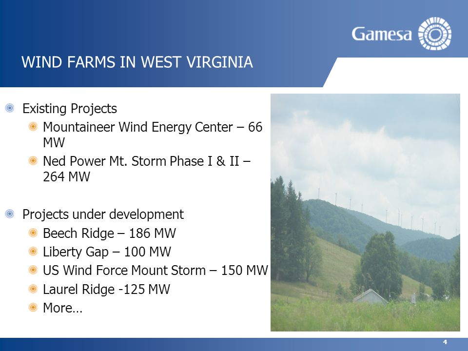 4 WIND FARMS IN WEST VIRGINIA Existing Projects Mountaineer Wind Energy Center – 66 MW Ned Power Mt.