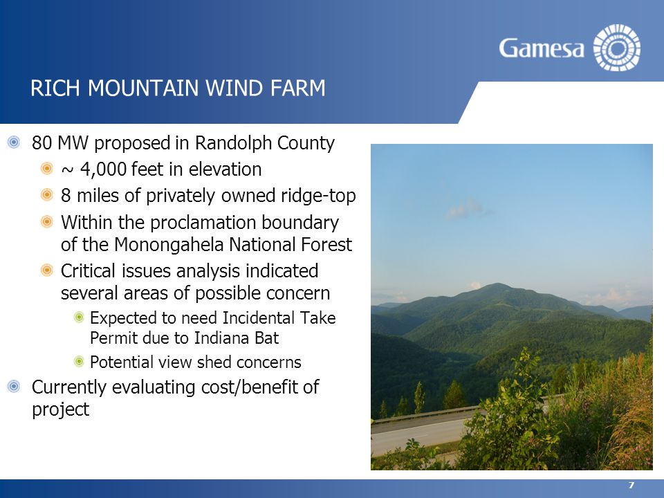 7 RICH MOUNTAIN WIND FARM 80 MW proposed in Randolph County ~ 4,000 feet in elevation 8 miles of privately owned ridge-top Within the proclamation boundary of the Monongahela National Forest Critical issues analysis indicated several areas of possible concern Expected to need Incidental Take Permit due to Indiana Bat Potential view shed concerns Currently evaluating cost/benefit of project