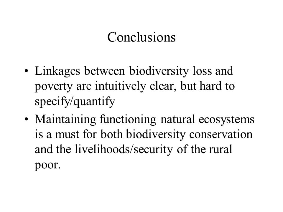 Conclusions Linkages between biodiversity loss and poverty are intuitively clear, but hard to specify/quantify Maintaining functioning natural ecosystems is a must for both biodiversity conservation and the livelihoods/security of the rural poor.