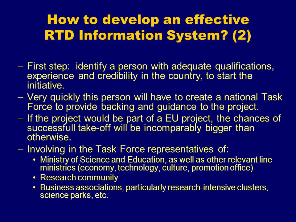 How to develop an effective RTD Information System.