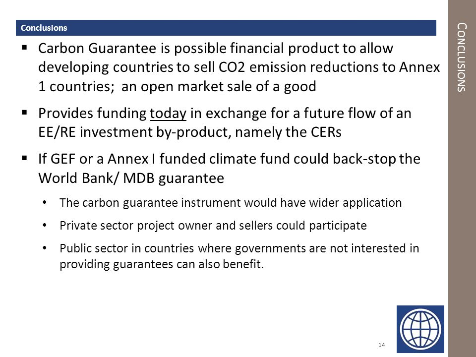 C ONCLUSIONS  Carbon Guarantee is possible financial product to allow developing countries to sell CO2 emission reductions to Annex 1 countries; an o